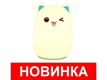 Детский силиконовый ночник Котик (голубой)