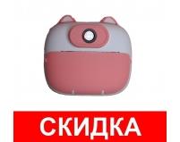 Фотоаппарат мгновенной печати детский GSMIN Котик (Розовый)