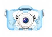 Детский фотоаппарат с селфи камерой GSMIN Собачка (Голубая)