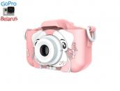 Детский фотоаппарат с селфи камерой GSMIN Собачка (Розовая)