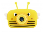 Детский фотоаппарат с селфи камерой GSMIN Пчелка (Желтая)