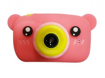 Детский цифровой фотоаппарат Мишка GSMIN (Розовый)